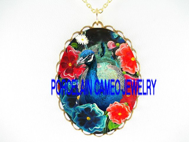 BLUE PEACOCK BIRD POPPY*CAMEO PORCELAIN NECKLACE