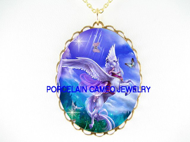 PURPLE PEGASUS HORSE CHASING BUTTERFLY*CAMEO PORCELAIN NECKLACE