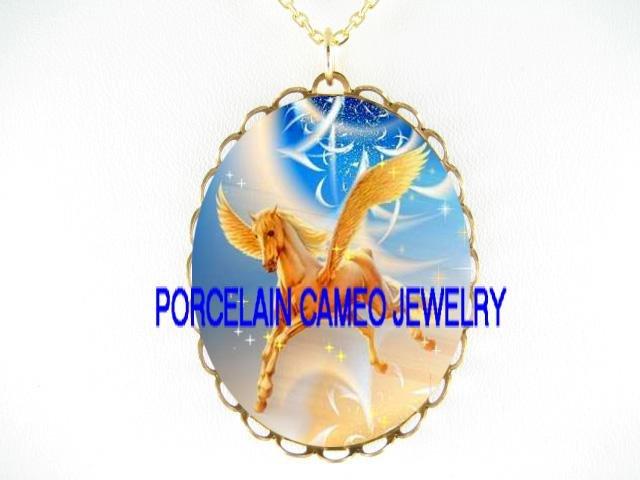 GOLDEN PEGASUS HORSE *CAMEO PORCELAIN NECKLACE