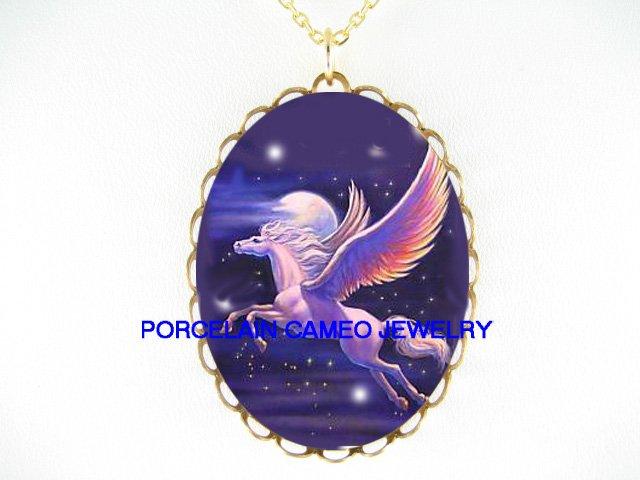 PURPLE  PEGASUS HORSE MOON STARS *CAMEO PORCELAIN NECKLACE