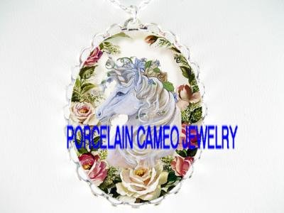 WHITE UNICORN HORSE PINK ROSE PORCELAIN CAMEO NECKLACE