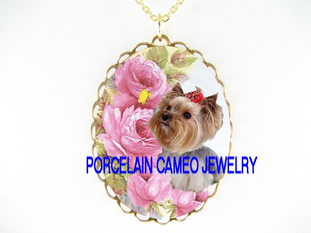 YORKSHIRE TERRIER DOG BUTTERFLY PINK ROSE *CAMEO PORCELAIN NECKLACE
