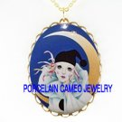 FRENCH PIERROT CLOWN CREST MOON *CAMEO PORCELAIN NECKLACE