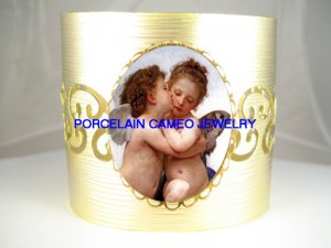 2 KISSING ANGEL CHERUB* CAMEO PORCELAIN  BANGLE CUFF BRACELET