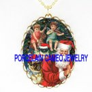 CHRISTMAS PUG DOG VICTORIAN SANTA ANGEL CHERUB PLAY MUSIC *CAMEO PORCELAIN NECKLACE
