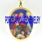 LION AND LAMB CHRISTMAS SANTA RABBIT WOLF CAMEO PORCELAIN LOCKET NECKLACE