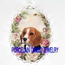 BEAGLE DOG PINK SPRING ROSE PORCELAIN CAMEO NECKLACE