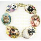6 BLACK WHITE MARINE COON CALICO HIMALAYAN SIAMESE BLACK CAT ROSE BUTTERFLY CAMEO PORCELAIN BRACELET