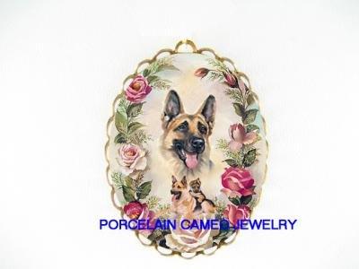 GERMAN SHEPHERD DOG MOMPUPPY ROSE PORCELAIN PIN PENDANT