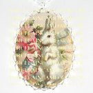 VICTORIAN EASTER BUNNY RABBIT EGG ROSE PORCELAIN CAMEO NECKLACE