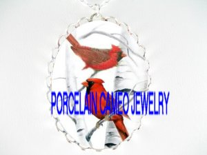 2 CARDINAL BIRD COUPLE WINTER SNOW  *  CAMEO PORCELAIN NECKLACE