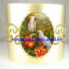 2 COCKATOO BIRD HIBISCUS CAMEO PORCELAIN BANGLE CUFF BRACELET