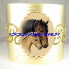 MARE FOAL HORSE CUDDLE CAMEO PORCELAIN BANGLE CUFF BRACELET