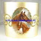 MARE FOAL HORSE CUDDLING* CAMEO PORCELAIN BANGLE CUFF BRACELET