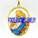 ALICE IN  WONDERLAND   *  CAMEO PORCELAIN LOCKET NECKLACE
