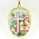 RELIGIOUS PINK DOGWOOD WITH CROSS   *  CAMEO PORCELAIN LOCKET NECKLACE