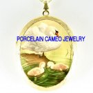3 SWAN FAMILY MOM 2 BABY *  CAMEO PORCELAIN LOCKET NECKLACE