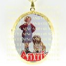 LITTLE ORPHAN ANNIE AND HER DOG SANDY CAMEO PORCELAIN LOCKET NECKLACE 6-5