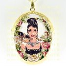 AUDREY HEPBURN KITTY CAT ROSE CAMEO PORCELAIN LOCKET NECKLACE