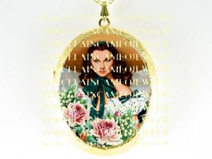 GONE WITH THE WIND SCARLETT ROSE   *  CAMEO PORCELAIN LOCKET NECKLACE