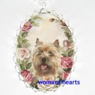 CAIRN TERRIER DOG PINK ROSE PORCELAIN CAMEO NECKLACE