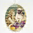 VICTORIAN PUG DOG MERMAID PANSY PORCELAIN CAME NECKLACE