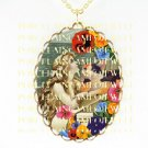 VICTORIAN MERMAID RAPHAEL ANGEL CAT PANSY  *CAMEO PORCELAIN NECKLACE