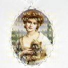 VICTORIAN LADY HOLDING CAIRN TERRIER DOG *  CAMEO PORCELAIN NECKLACE