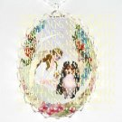 SHELTIE SHEEPDOG ANGEL MOON ROSE SWING CAMEO PORCELAIN NECKLACE