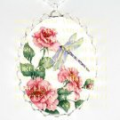 PURPLE DRAGONFLY PINK ROSE *  CAMEO PORCELAIN NECKLACE