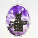BLACK CAT CROW RAVEN PURPLE FAIRY STAR*  CAMEO PORCELAIN NECKLACE