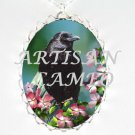 CROW RAVEN APPLE BLOSSOM ARTISAN CAMEO PORCELAIN NCKLACE