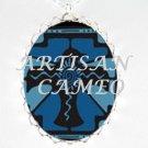 BLUE CROW RAVEN BIRD HEART PORCELAIN CAMEO NECKLACE