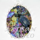ROW RAVEN CHASING BUTTERFLY PURPLE DREAM *  CAMEO PORCELAIN NECKLACE SILVER
