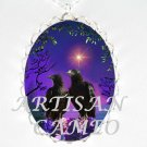 2 CROW RAVEN COUPLE ROMANTIC NIGHT NORTHERN STAR *  CAMEO PORCELAIN NECKLACE