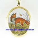 RED FOX AND BUTTERFLY PORCELAIN CAMEO LOCKET NECKLACE