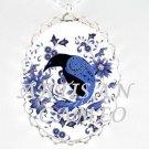 CROW RAVEN BLUE DELFT FLOWER PORCELAIN CAMEO NECKLACE