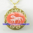 2 PINK MARE FOAL HORSE VINTAGE ANTIQUE BRASS LOCKET NK