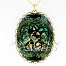 3 CROW RAVEN BIRD CELTIC KNOT TREE ART CAMEO INECKLACE