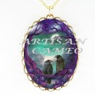 CROW RAVEN SWEET COUPLE PURPLE TREE MOON NIGHT NECKLACE