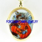 HALLOWEEN BLACK CAT PUMPKIN MOUSE * CAMEO PORCELAIN LOCKET NECKLACE