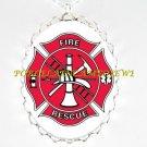 FIRE DEPARTMENT FIRE RESCUE LOGO*  CAMEO PORCELAIN NECKLACE