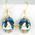 BLUE DUTCH BUNNY RABBIT PANSY PORCELAIN CAMEO EARRINGS