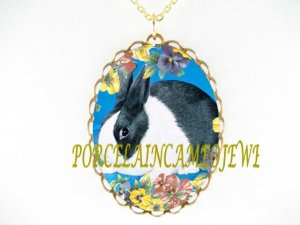 BLUE DUTCH BUNNY RABBIT PANSY PORCELAIN CAMEO NECKLACE