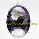 CROW RAVEN PURPLE LAKE FULL MOON *  CAMEO PORCELAIN NECKLACE
