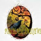 CROW RAVEN SWIRL TREE LADYBUG*  CAMEO PORCELAIN NECKLACE