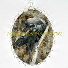 CROW RAVEN BIRD *  CAMEO PORCELAIN NECKLACE SILVER