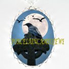 CROW RAVEN RESTING CELTIC CROSS FULL MOON*  CAMEO PORCELAIN NECKLACE