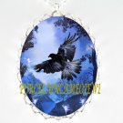 CROW RAVEN DANCING LAKE MOON WITH FAIRY* CAMEO PORCELAIN NECKLACE