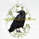CROW RAVEN BIRD GREEN SWIRL TREE LEAF CAMEO NECKLACE